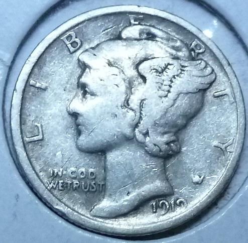 1919-P EXTRA FINE Mercury Dime XF ( 1024 )
