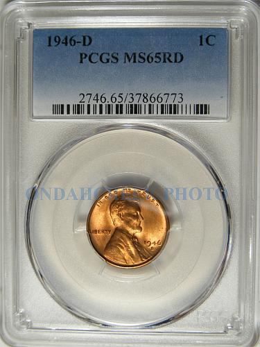 1946-S Lincoln Cent PCGS Error Slab Labeled 1946-D MS65RD
