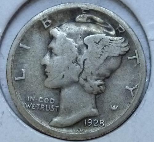 1928-D VERY FINE Mercury Dime VF ( 1047 )