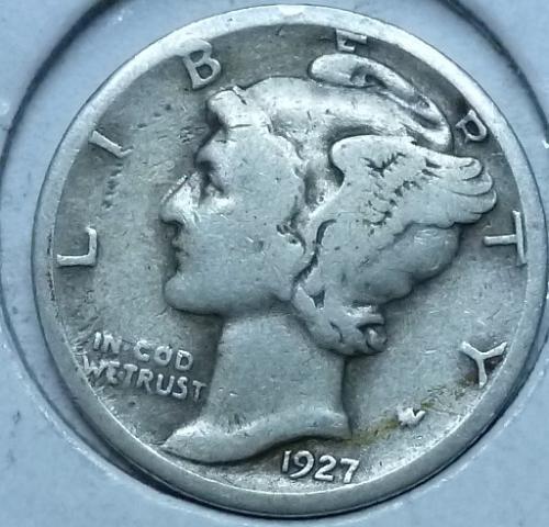 1927-S FINE Mercury Dime   (1045 )