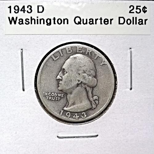 1943 D Washington Quarter Dollar - 6 Photos!