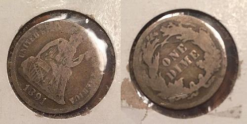 1891 Silver Liberty Seated Dime