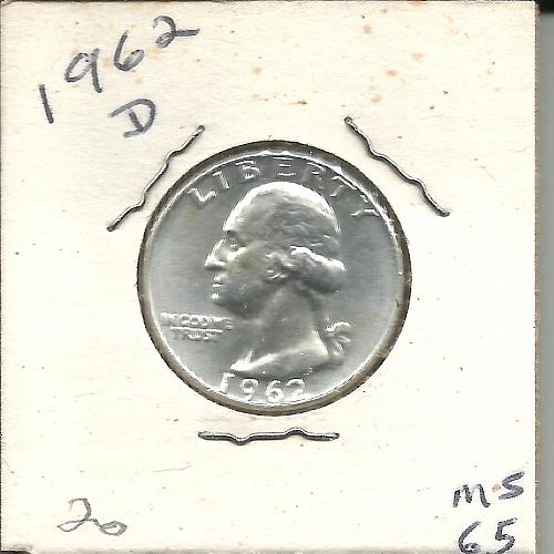 1962   D   WASHINGTON QUARTER