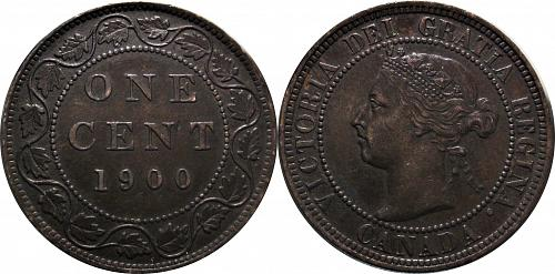 Canada 1900 1 Cent (Large Cent) No Mint Mark       0319
