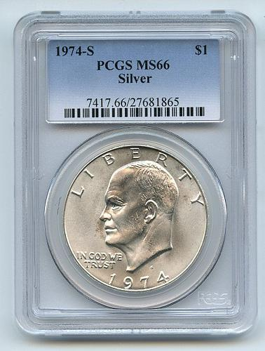 1974 S $1 Silver Ike Eisenhower Dollar PCGS MS66