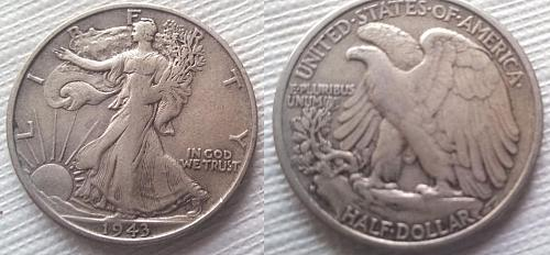 1943 S LIBERTY WALKING HALF DOLLAR