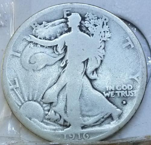 1916 D Obverse Very Good Walking Liberty Half Dollar  ( 3250 )