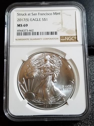 2017 (S) American Silver Eagle (Not proof) NGC MS69