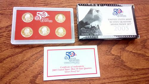 2005 U.S. Mint Five Coin Silver Proof State Quarters Set in Box & COA NICE!