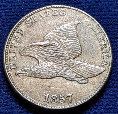 1857 CHOICE AU FLYING EAGLE CENT