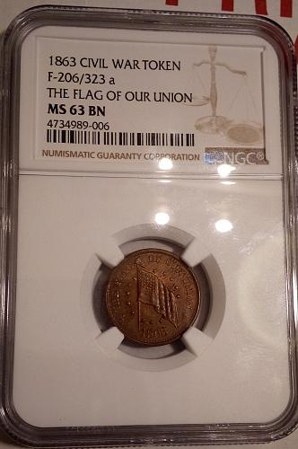 NGC MS 63 BN 1863 Civil War Token The Flag of Our Union