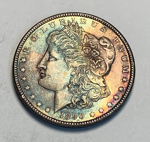 1890 Morgan Silver Dollar Stunning Colorful Toning BU [MDL 142]