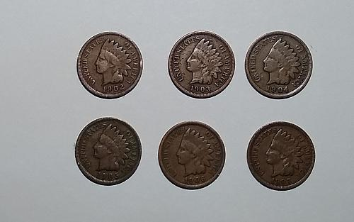 FOR SALE:  LOT OF SIX ( 6 ) INDIAN HEAD CENTS