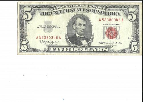 1963       $5.00  UNITED STATES NOTE
