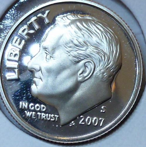 2007-S GEM Brilliant Proof Roosevelt Dime (328)