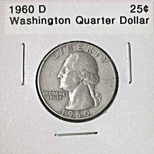 1960 D Washington Quarter Dollar - 6 Photos!