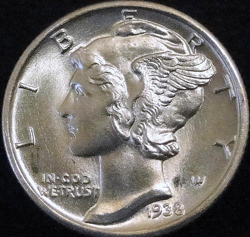 1938 P Silver Mercury Dime *** UNC/MS - With Full Split Bands ***