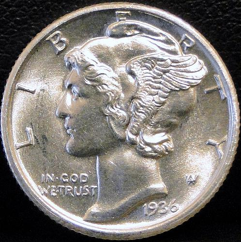1936 S Silver Mercury Dime *** UNC/MS - With Full Split Bands ***
