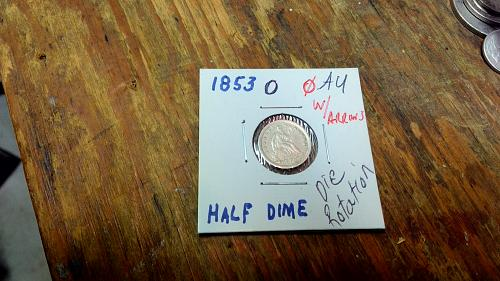 1853 O Seated Liberty Half Dime with Arrows Excellent See Photos Die Rotation