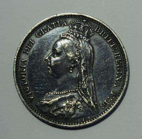 1889 Great Britain 6 Silver Pence - Toned