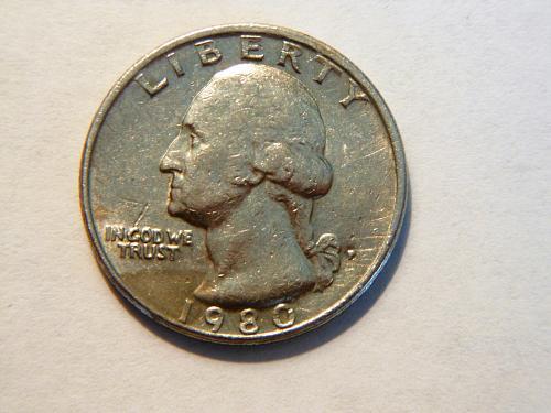 1980-P Washington Quarter Error, Filled in P on Mint Mark