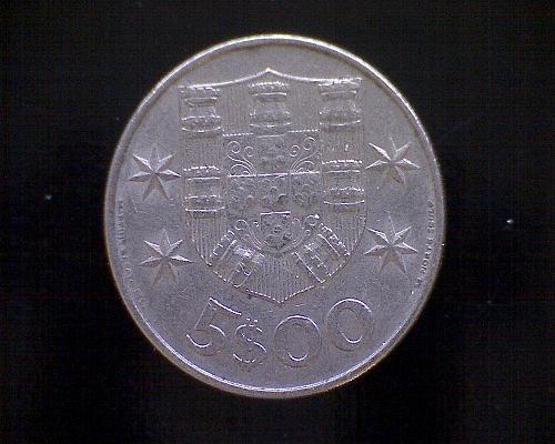 1977  PORTUGAL FIVE ESCUDOS