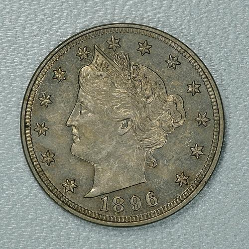 1896 Choice AU Liberty Nickel, a tough early date in choice condition