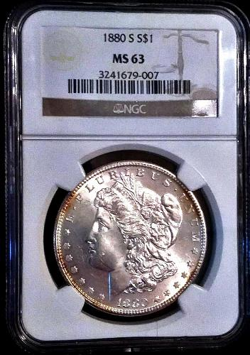 1880s MS-63 Morgan Silver Dollar NGC--brilliant