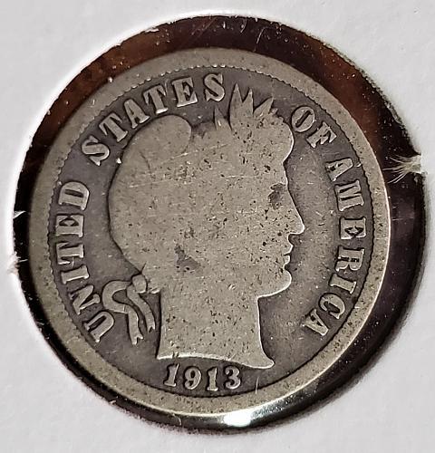 1913 P Barber Dime - 0049