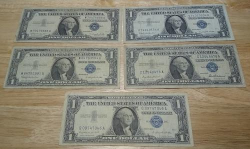 LOT OF FIVE (5) ONE DOLLAR SILVER CERTIFICATES