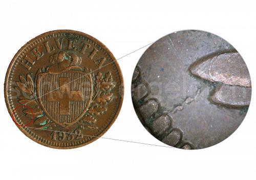 Switzerland 1932 2 Rappen  additional dot, die crack   0254