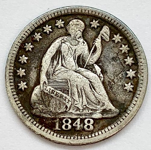 1848 Seated Liberty Half Dime - Medium Date
