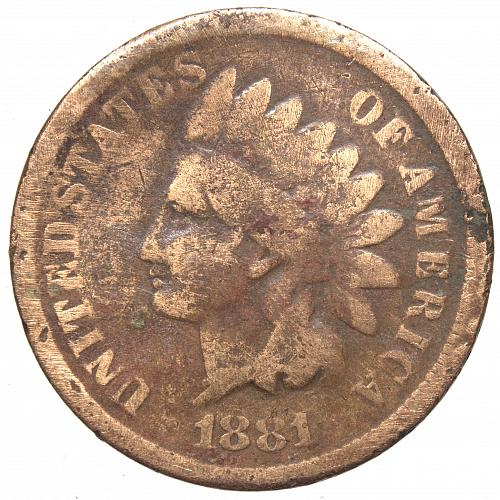 1881 P Indian Head Cent #21 Cleaned