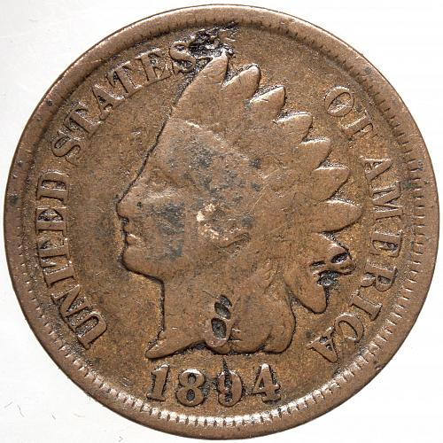1894 P Indian Head Cent #29 Tooled