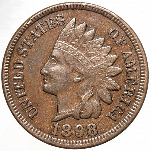 1898 P Indian Head Cent #24 Reverse oxidation as shown