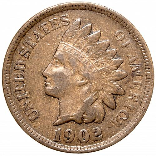 1902 P Indian Head Cent #33 Natural Light Brown