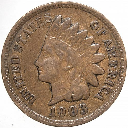 1903 P Indian Head Cent #34 Natural Brown