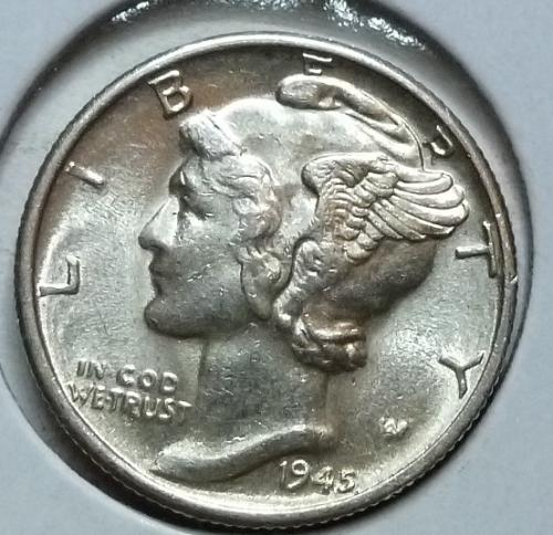 1945-D  Brilliant Uncirculated Mercury Dime  With Full Split Bands  BU ( 455)
