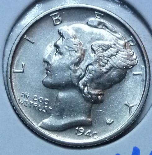 1940-S  Brilliant Uncirculated Mercury Dime  BU ( 445)