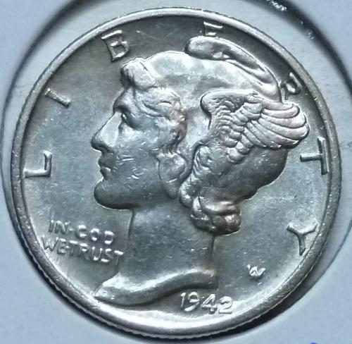 1942-P  Brilliant Uncirculated Mercury Dime  BU ( 448)