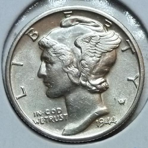 1944-D  Brilliant Uncirculated Mercury Dime  BU ( 452)