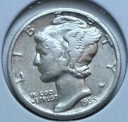 1935-P Very Fine Mercury Dime  VF ( 432)
