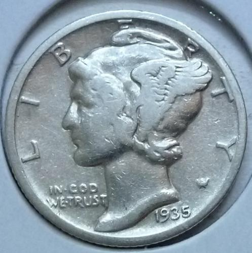1935-S Fine  Mercury Dime   ( 434)