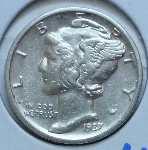 1937-S EXTRA FINE Mercury Dime   (440)