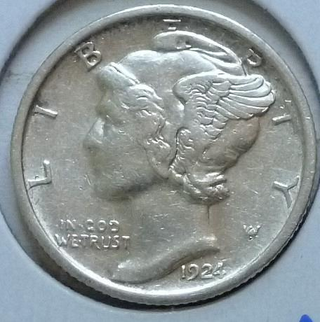 1924-P EXTRA FINE Mercury Dime   XF (414)