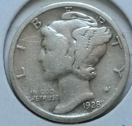 1928-D VERY FINE Mercury Dime   VF (423)