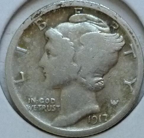1917-P Very Good Mercury Dime   ( 402)