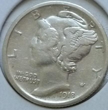 1918-P Very Good Mercury Dime   ( 405)