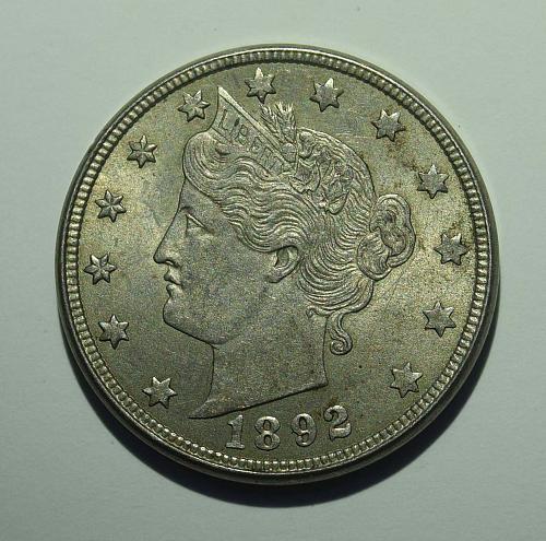 1892 P Liberty Head V Nickel