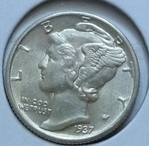 1937-P ABOUT UNCIRCULATED Mercury Dime   ( 438)